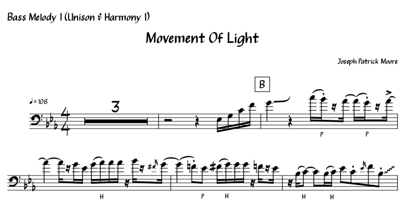 Bass Score and Transcription for Movement Of Light by Bassist Joseph Patrick Moore