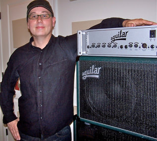 Joseph Patrick Moore with his Aguilar Bass Rig